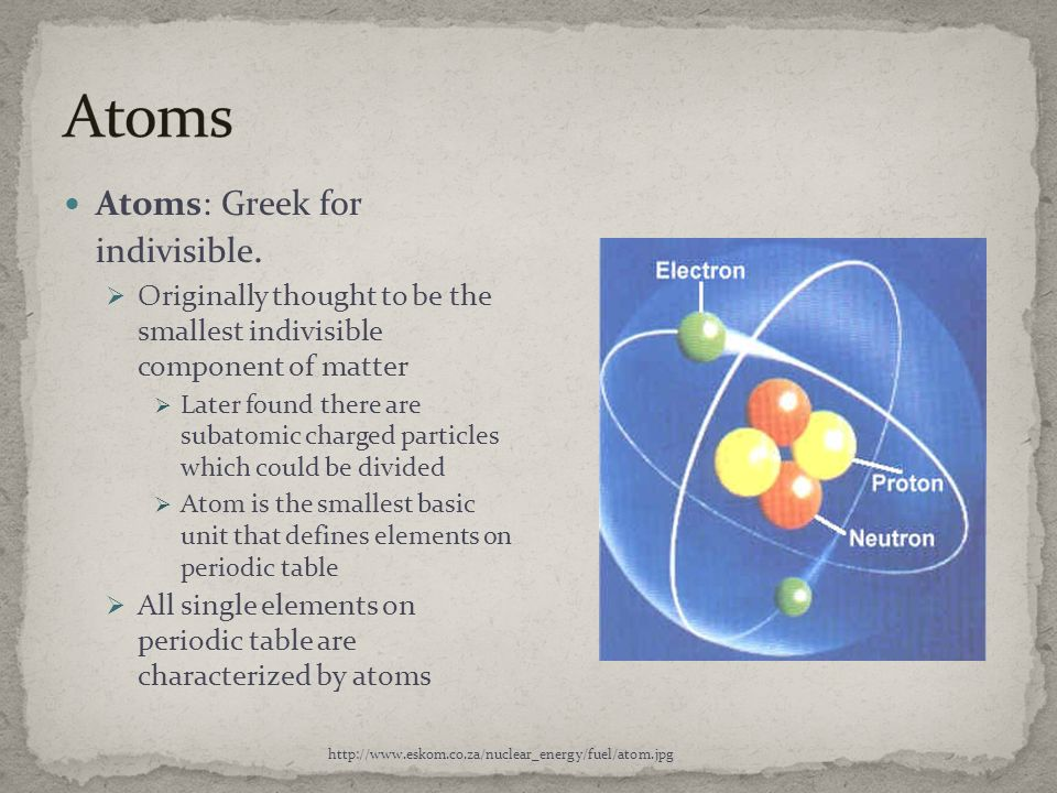 Atoms Atoms: Greek for indivisible.