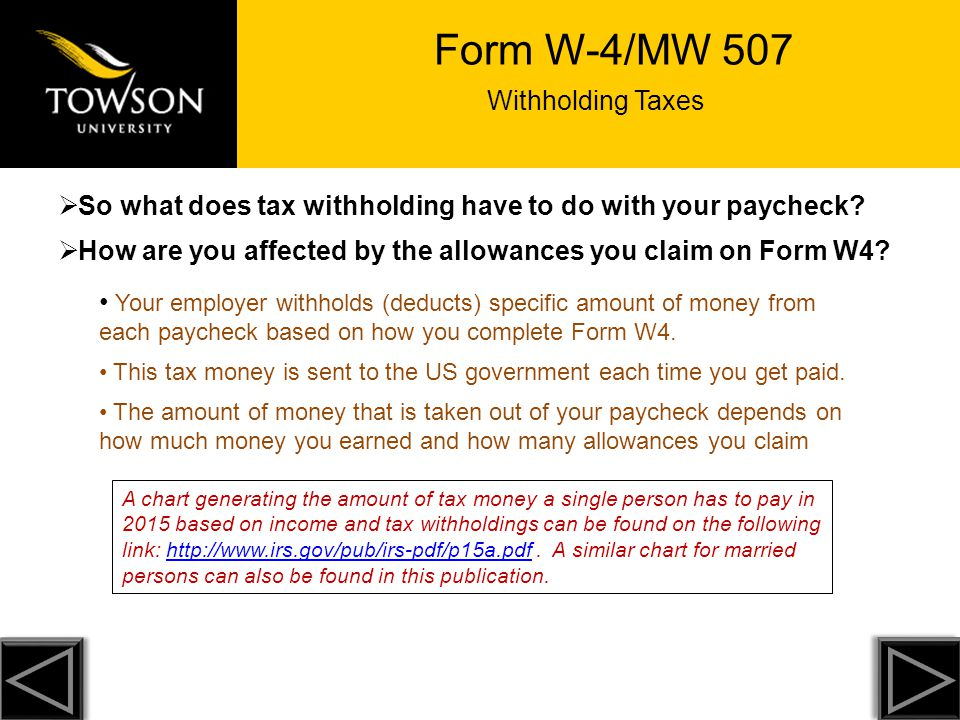 Towson University Cannot Legally Tell You How To Complete Form W4