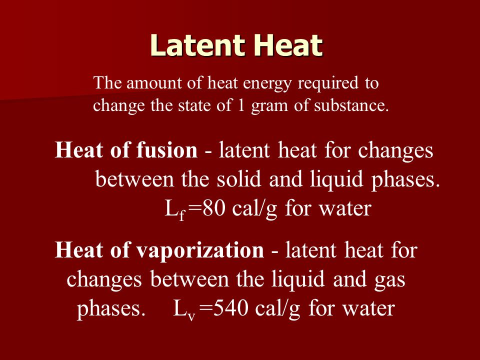 Latent Heat The amount of heat energy required to change the state of 1 gram of substance.