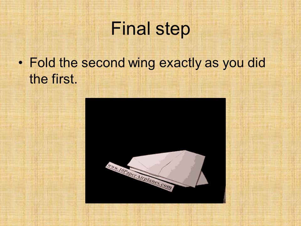 Final step Fold the second wing exactly as you did the first.