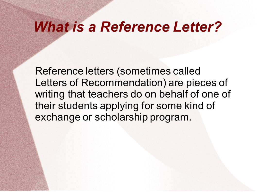what is a reference letter