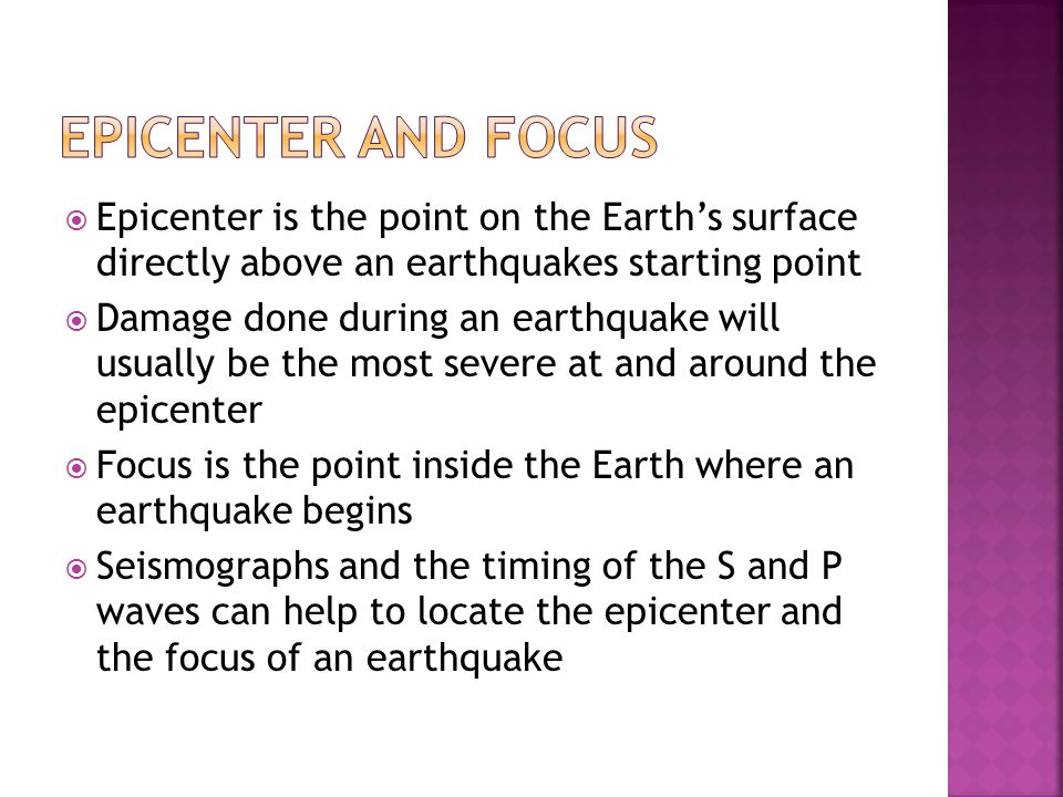 Epicenter and Focus Epicenter is the point on the Earth's surface directly above an earthquakes starting point.