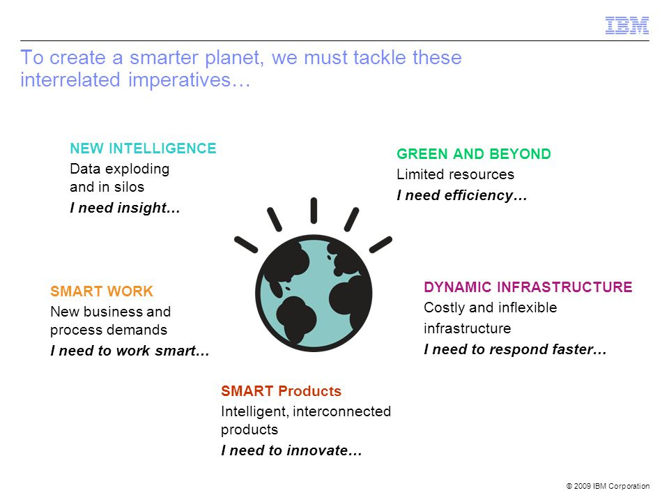 To create a smarter planet, we must tackle these interrelated imperatives…