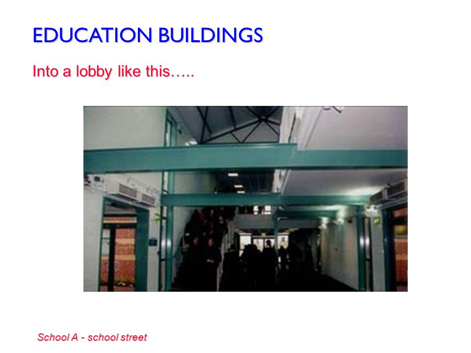 EDUCATION BUILDINGS Into a lobby like this….. School A - school street