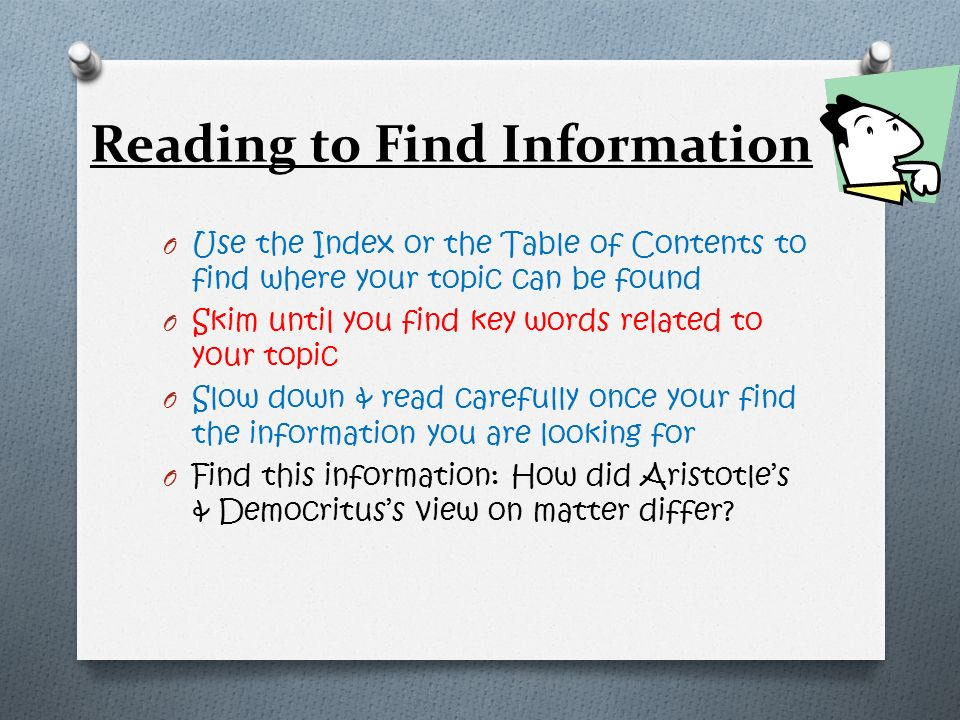 Reading to Find Information