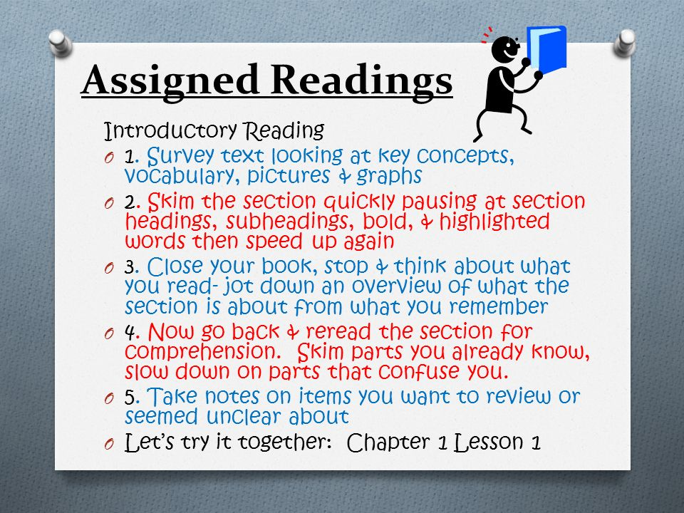 Assigned Readings Introductory Reading