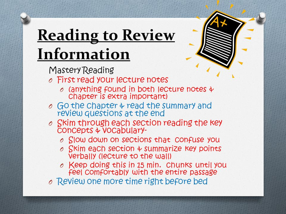 Reading to Review Information