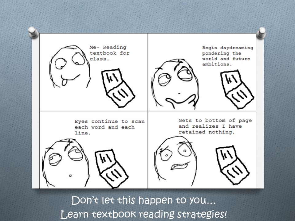 Don't let this happen to you… Learn textbook reading strategies!