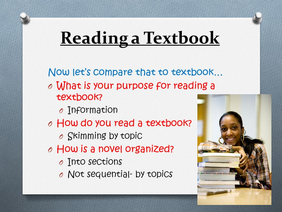 Reading a Textbook Now let's compare that to textbook…