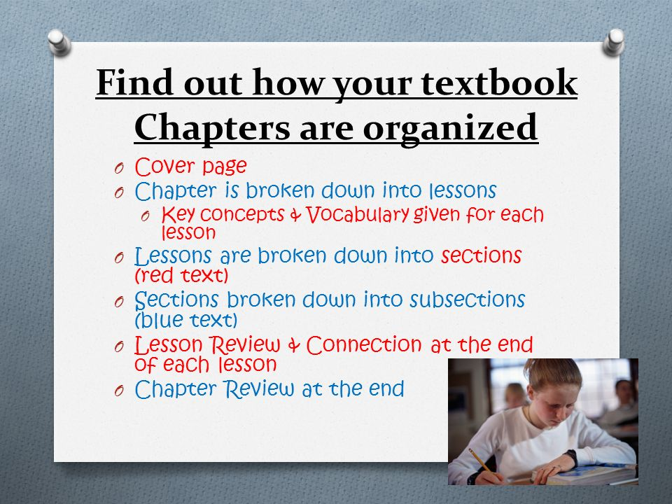 Find out how your textbook Chapters are organized
