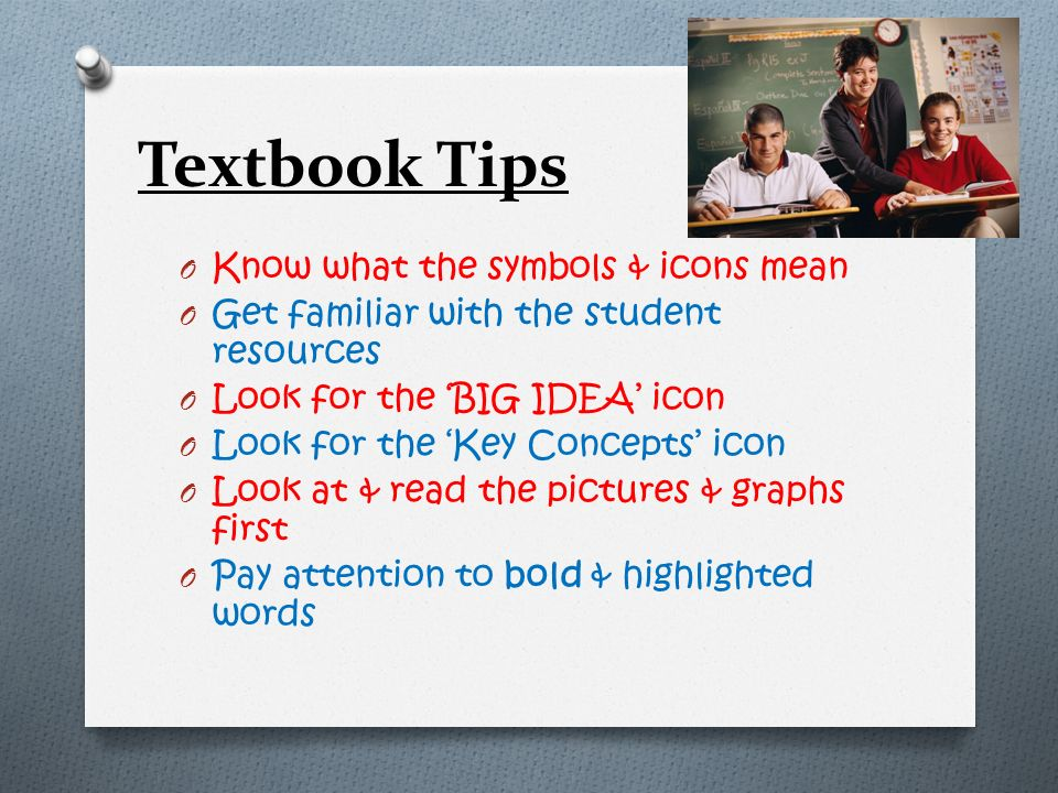 Textbook Tips Know what the symbols & icons mean