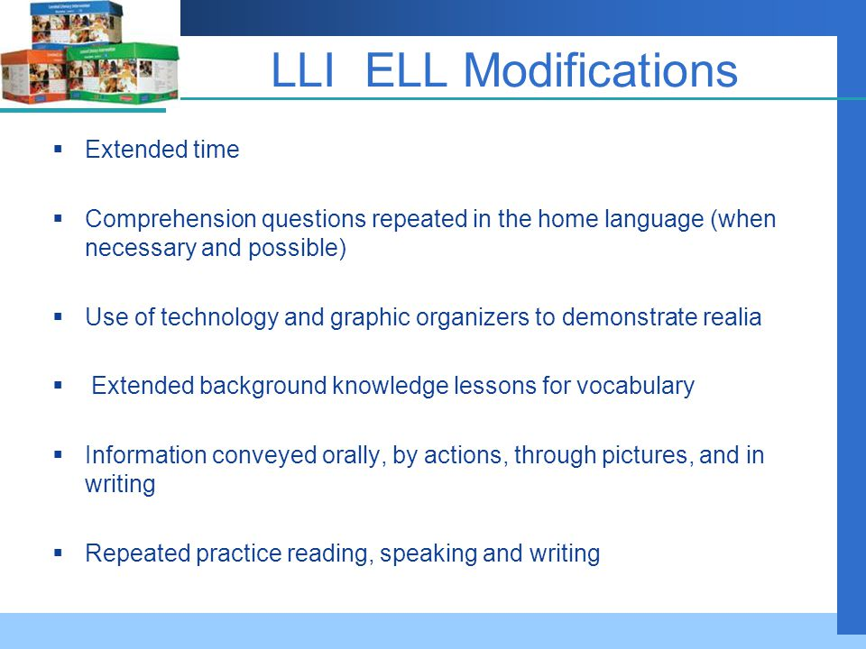 LLI ELL Modifications Extended time
