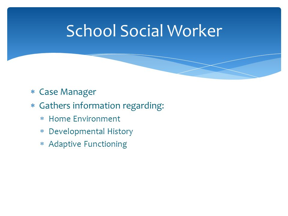 School Social Worker Case Manager Gathers information regarding: