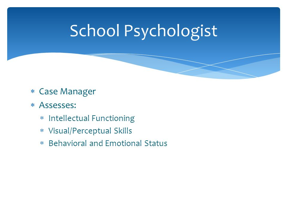 School Psychologist Case Manager Assesses: Intellectual Functioning
