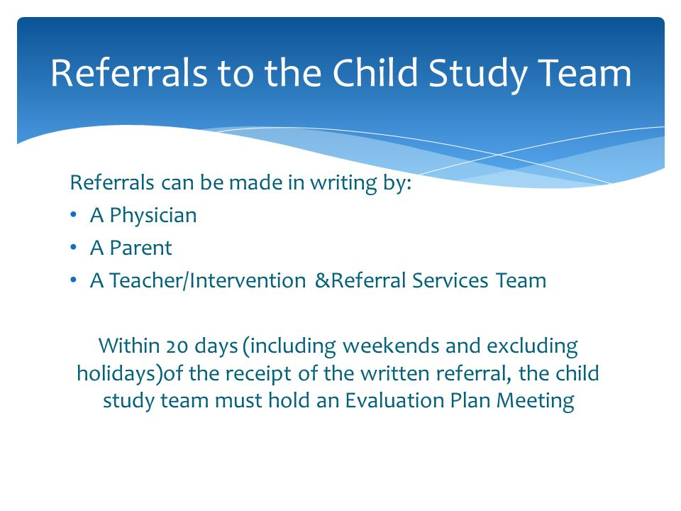 Referrals to the Child Study Team
