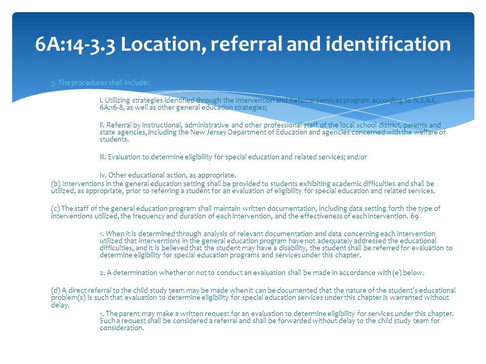 6A: Location, referral and identification
