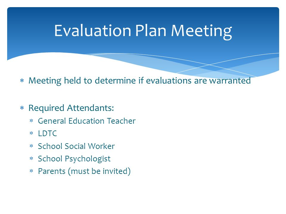 Evaluation Plan Meeting