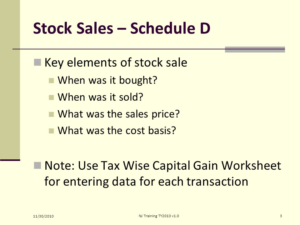 Ine Capital Gain Or Loss Ppt Video Online Download. Stock Sales Schedule D. Worksheet. 2012 Schedule D Tax Worksheet At Clickcart.co