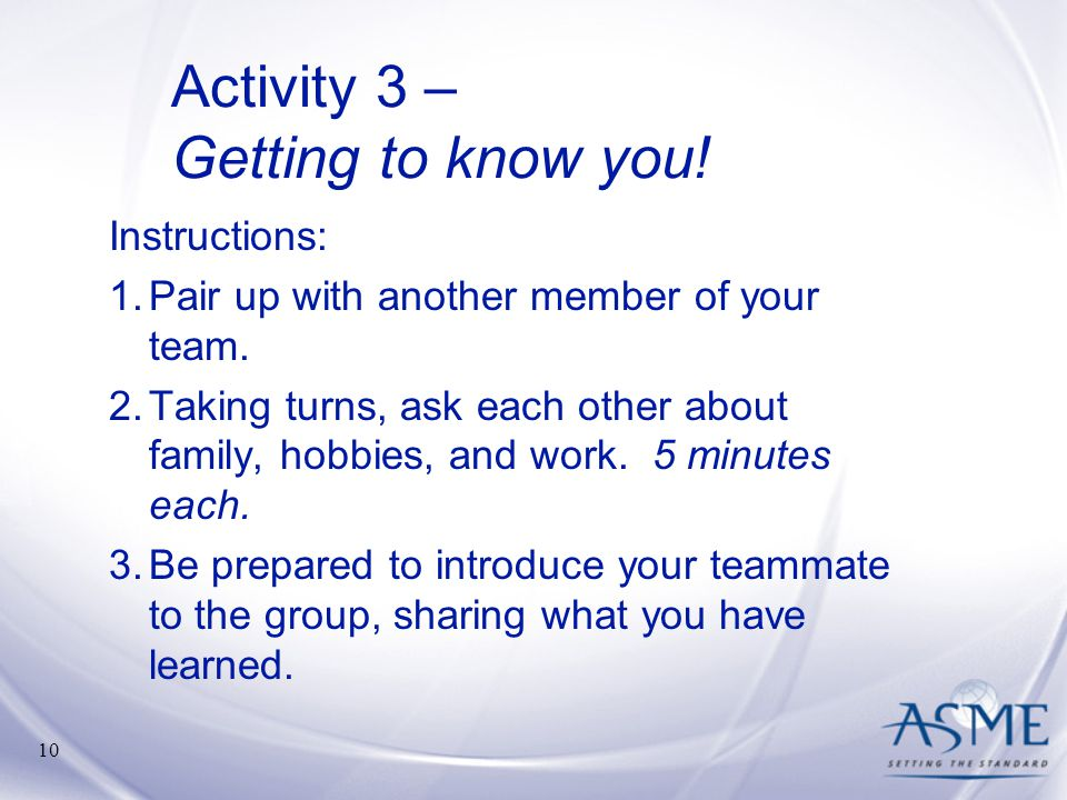 Activity 3 – Getting to know you!