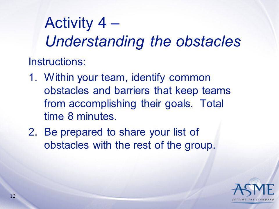 Activity 4 – Understanding the obstacles