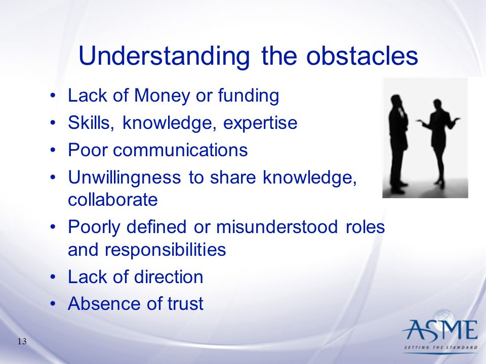 Understanding the obstacles