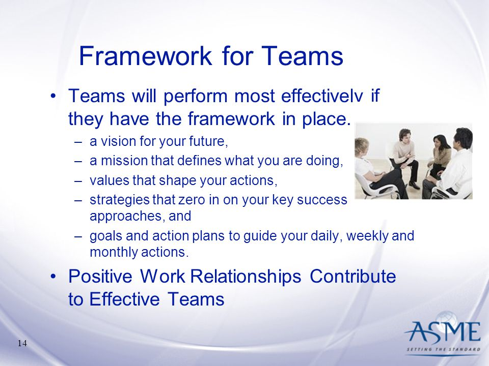 Framework for Teams Teams will perform most effectively if they have the framework in place. a vision for your future,