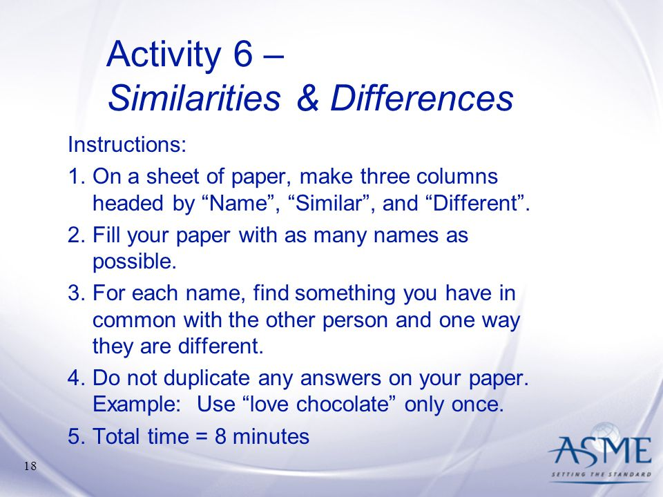 Activity 6 – Similarities & Differences