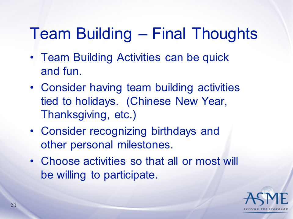 Team Building – Final Thoughts