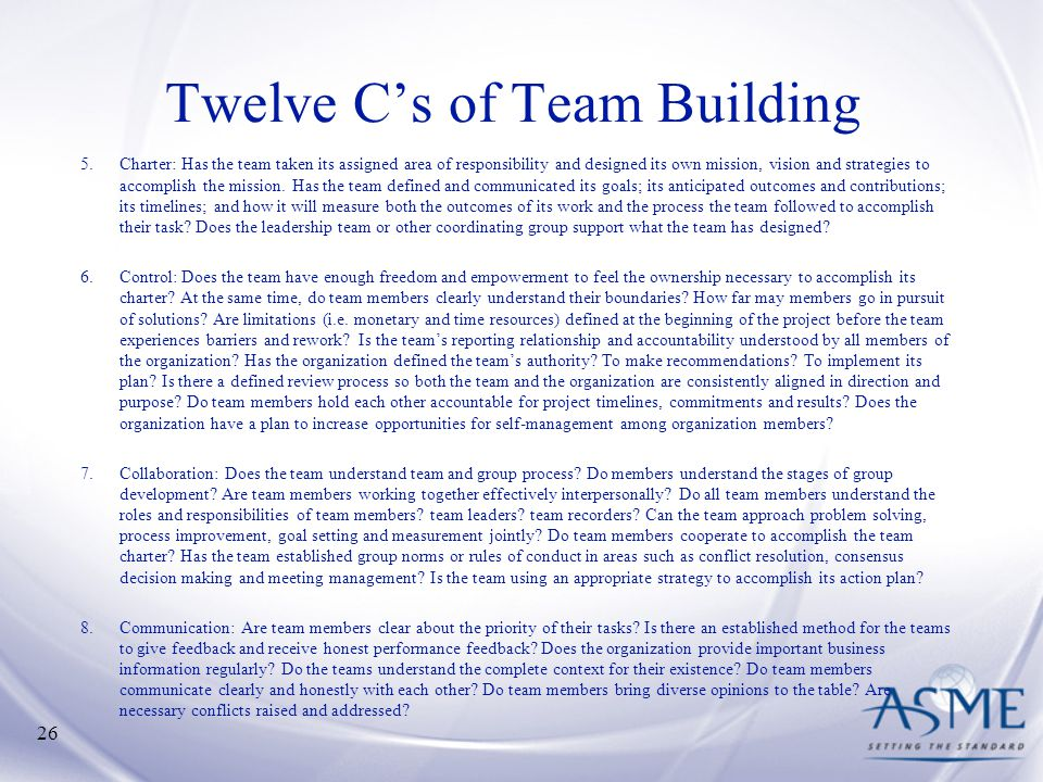 Twelve C's of Team Building