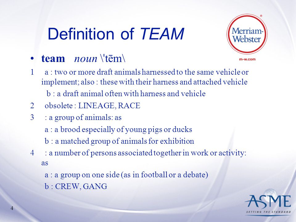 Definition of TEAM team noun \ˈtēm\