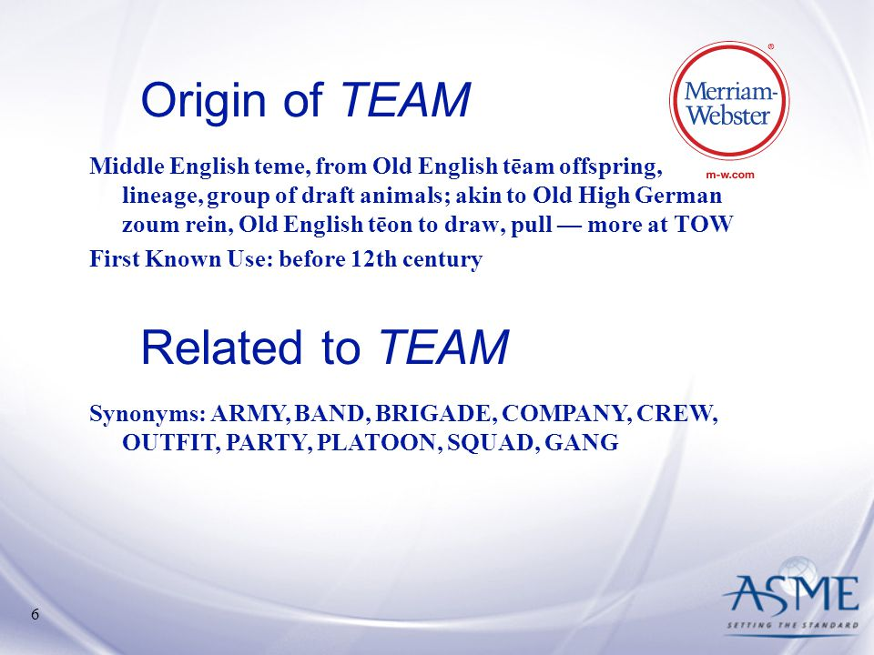 Origin of TEAM Related to TEAM
