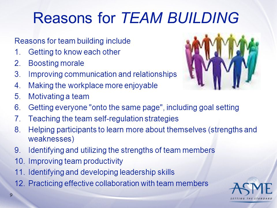 Reasons for TEAM BUILDING