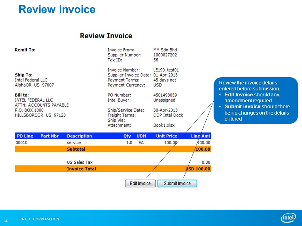 Intel Federal LLC Web Invoice Ppt Video Online Download - Submitting invoices for payment