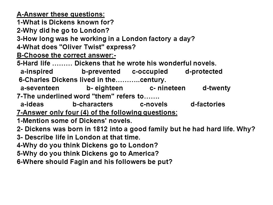 questions on oliver twist and answers