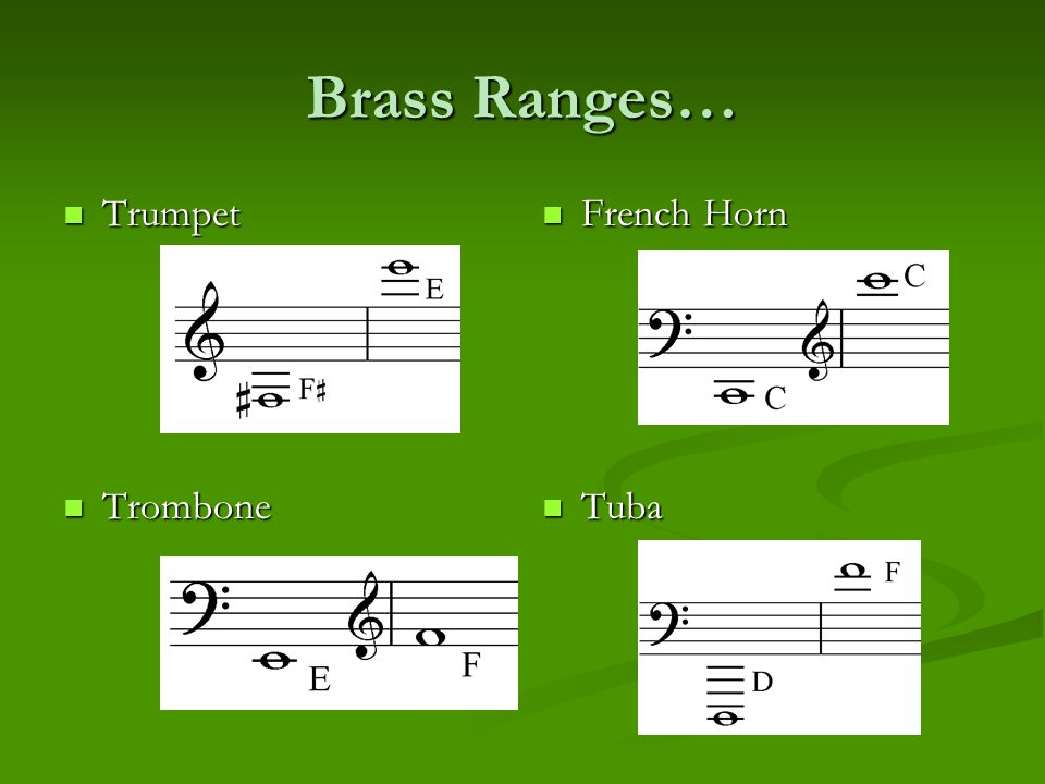 Brass Ranges… Trumpet Trombone French Horn Tuba