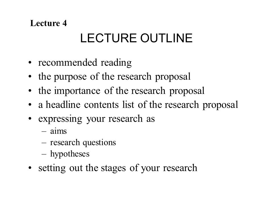 content of a research proposal