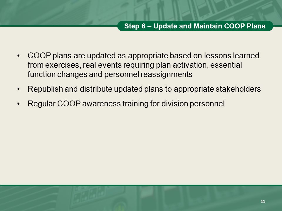 Step 6 – Update and Maintain COOP Plans