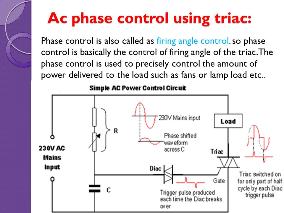 thyristor application \u0026 photosensitive control circuits ppt videoac phase control using triac