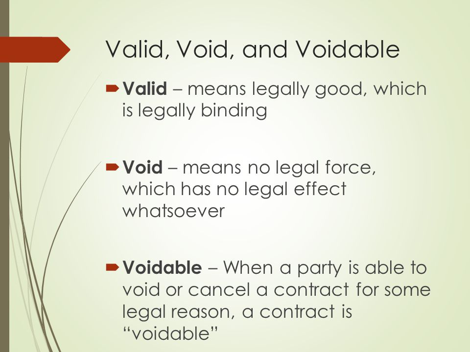 Void And Voidable Agreement Examples Of A Void Contract 2019 02 08