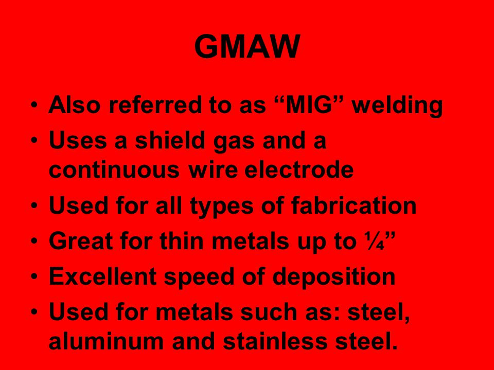 GMAW Also referred to as MIG welding