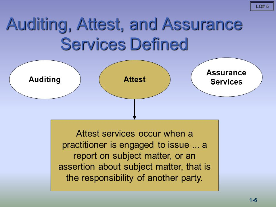 auditing attestation and assurance services paper Assurance services are a class of services provided by certified public accountants (cpas) in public practice while the term is sometimes used inconsistently among individual cpa firms, the american institute of certified public accountants (aicpa) special committee on assurance services defined assurance services as independent professional services that improve the quality of information.