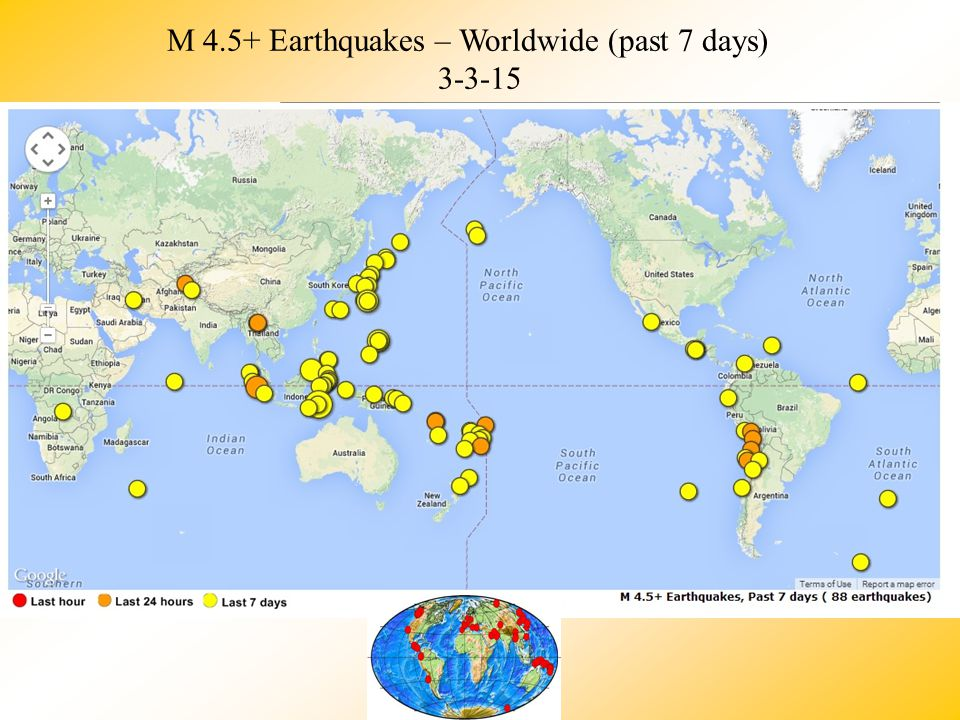Earthquakes ppt video online download m 45 earthquakes worldwide past 7 days gumiabroncs Image collections