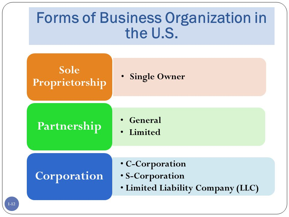 Forms of Business Organization in the U.S.