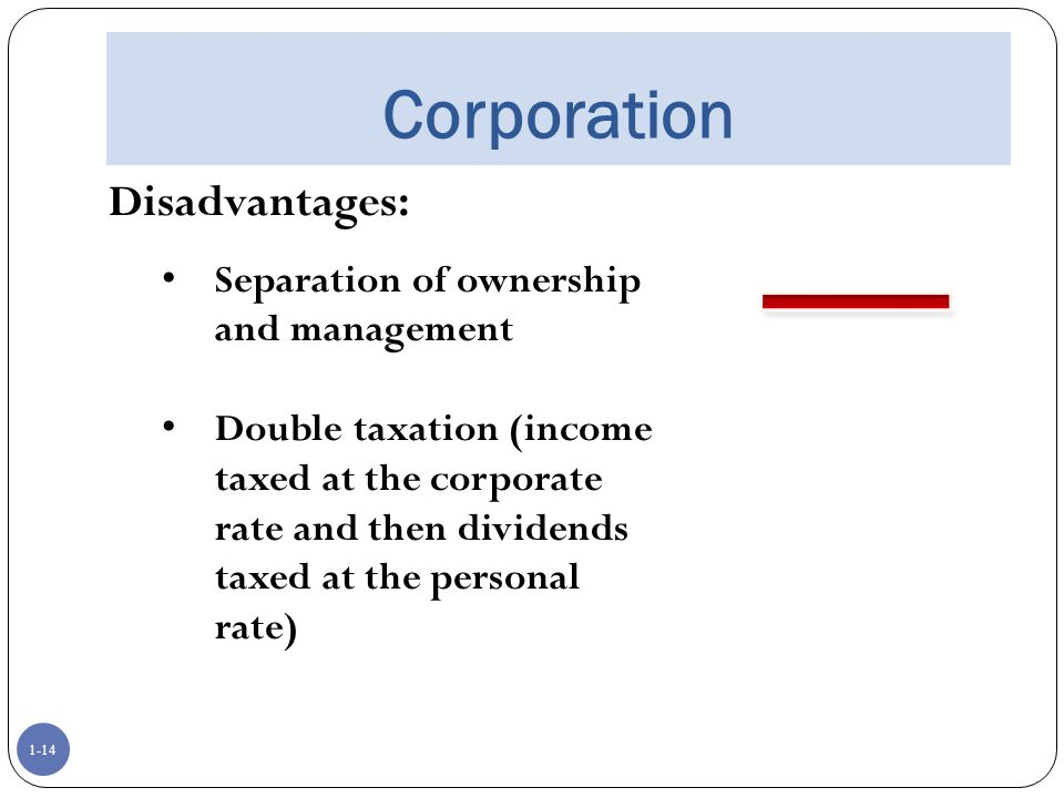 Corporation Disadvantages: Separation of ownership and management