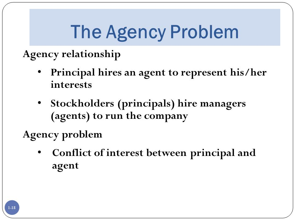 The Agency Problem Agency relationship