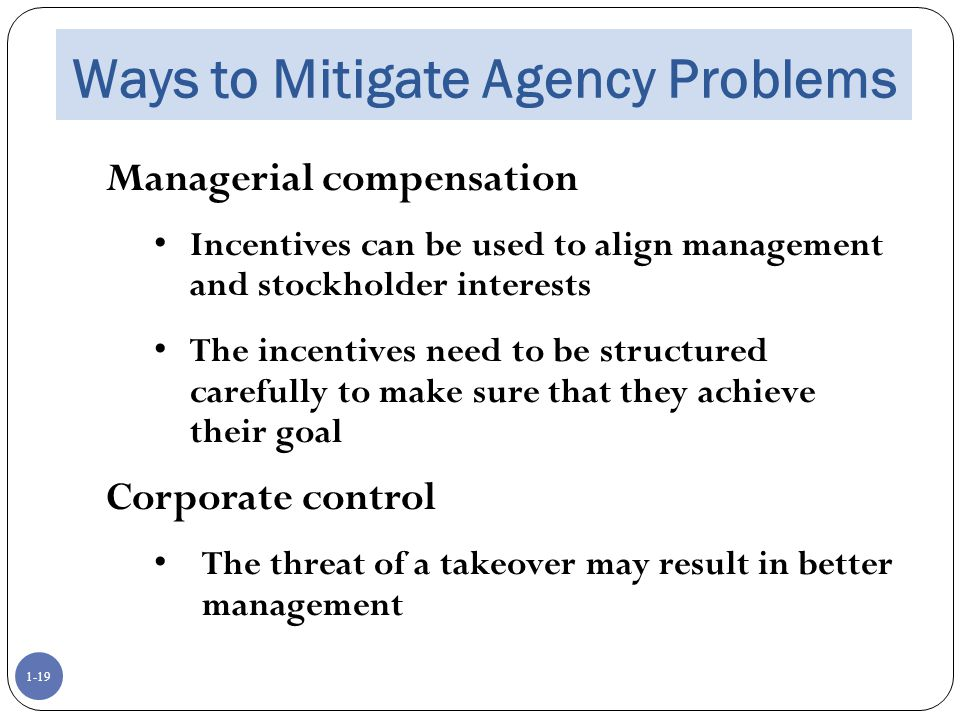 Ways to Mitigate Agency Problems