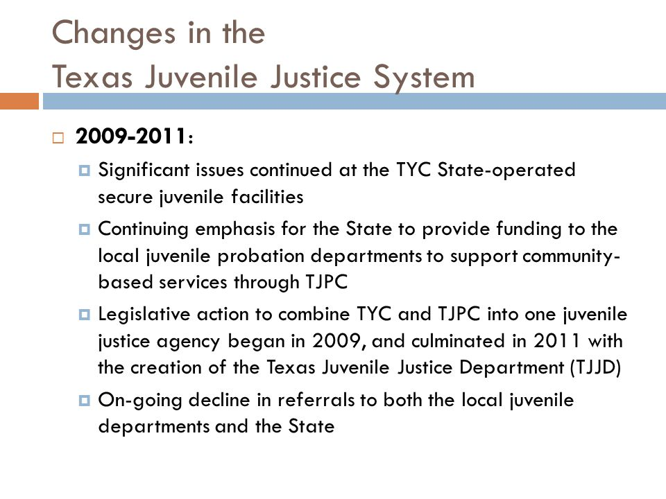 Changes in the Texas Juvenile Justice System