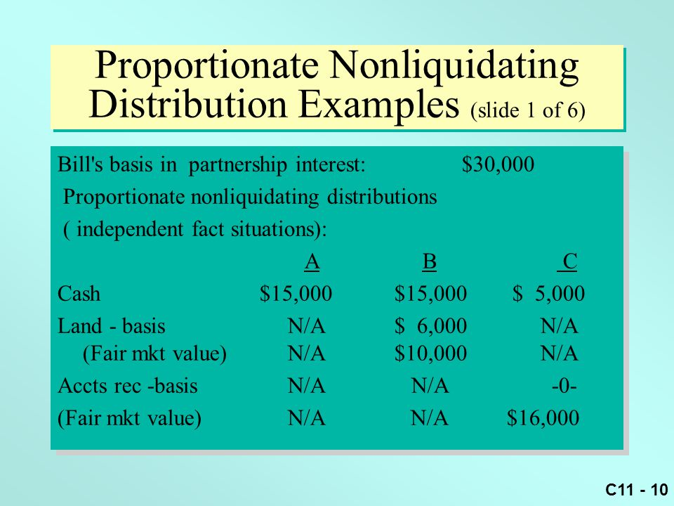 Chapter 11 Partnerships Distributions Transfer Of