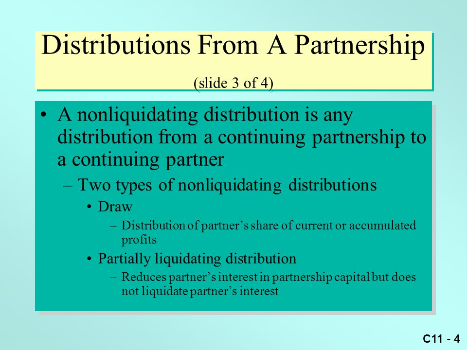 Chapter 11 Partnerships Distributions Transfer Of Interests