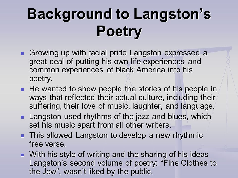 Background to Langston's Poetry